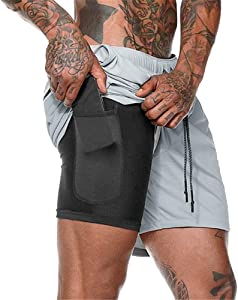 Giveaway: Loozykit Mens Running Shorts Double-Layer Workout Training...