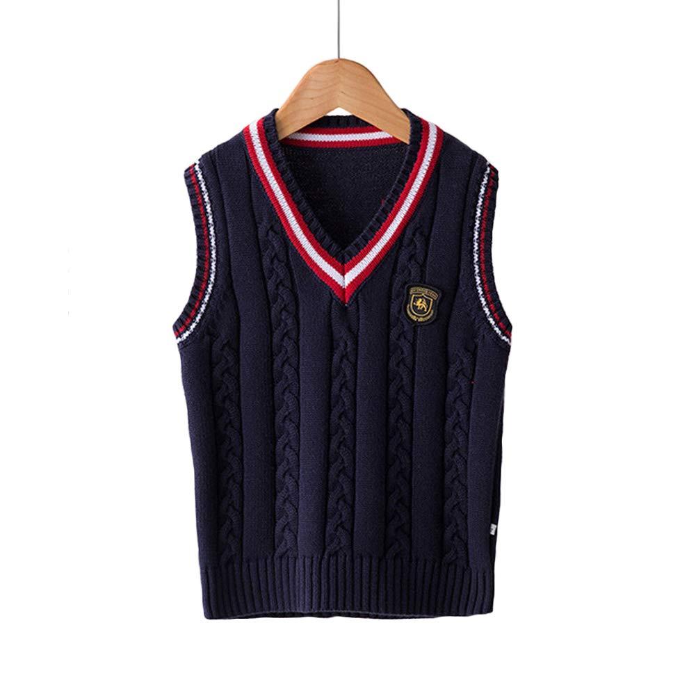 Bingooutlet Boys Cotton V-Neck Cable Knit Sweater Vest Girls Sleeveless Pullover School Uniform Waistcoat