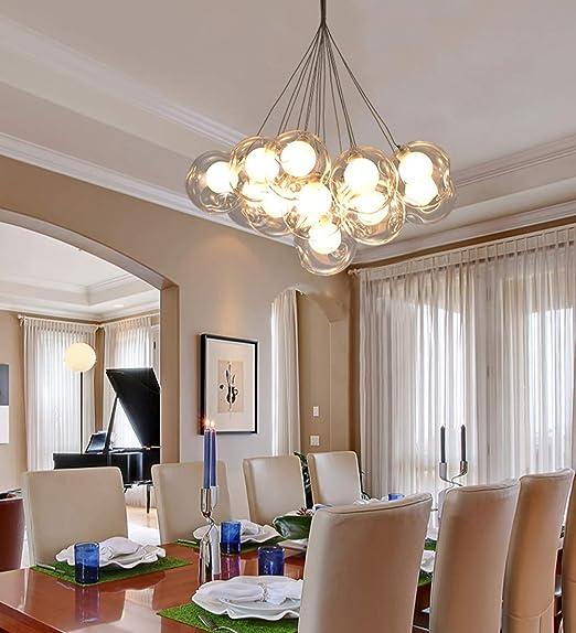 Lámpara colgante de techo alto simple Sala de estar moderna Lámpara de dormitorio Personalidad creativa Escalera de arte Lámpara de restaurante Habitación de niños Lámparas de bola de vidrio transpare: Amazon.es: Hogar