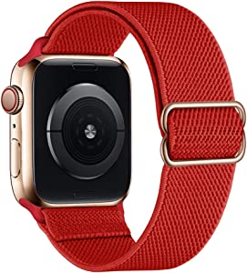 SIRUIBO Stretchy Nylon Solo Loop Bands Compatible with Apple Watch 38mm 40mm, Adjustable Stretch Braided Sport Elastics Women Men Strap Compatible with iWatch Series 6/5/4/3/2/1 SE, Light Red