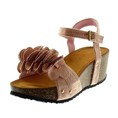 Angkorly - Chaussure Mode Sandale Mule lanière cheville plateforme femme fleurs à volants liège Talon compensé plateforme 6 CM - CaQbY6u