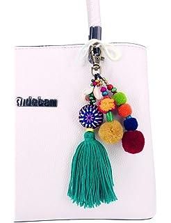 Amazon.com: QTKJ Bohemia borlas Pompón bolsa encanto llavero ...