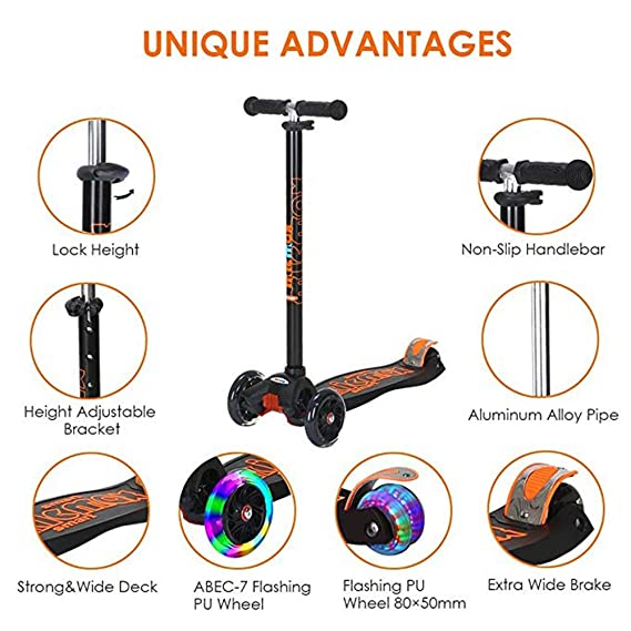 Amazon.com : QRFDIAN, Micro Mini Deluxe Kick Scooter Scooter/Children Scooter/Height Adjustable/Foldable / + Flash PU Wheel/Scooter Child boy Girl : Sports ...