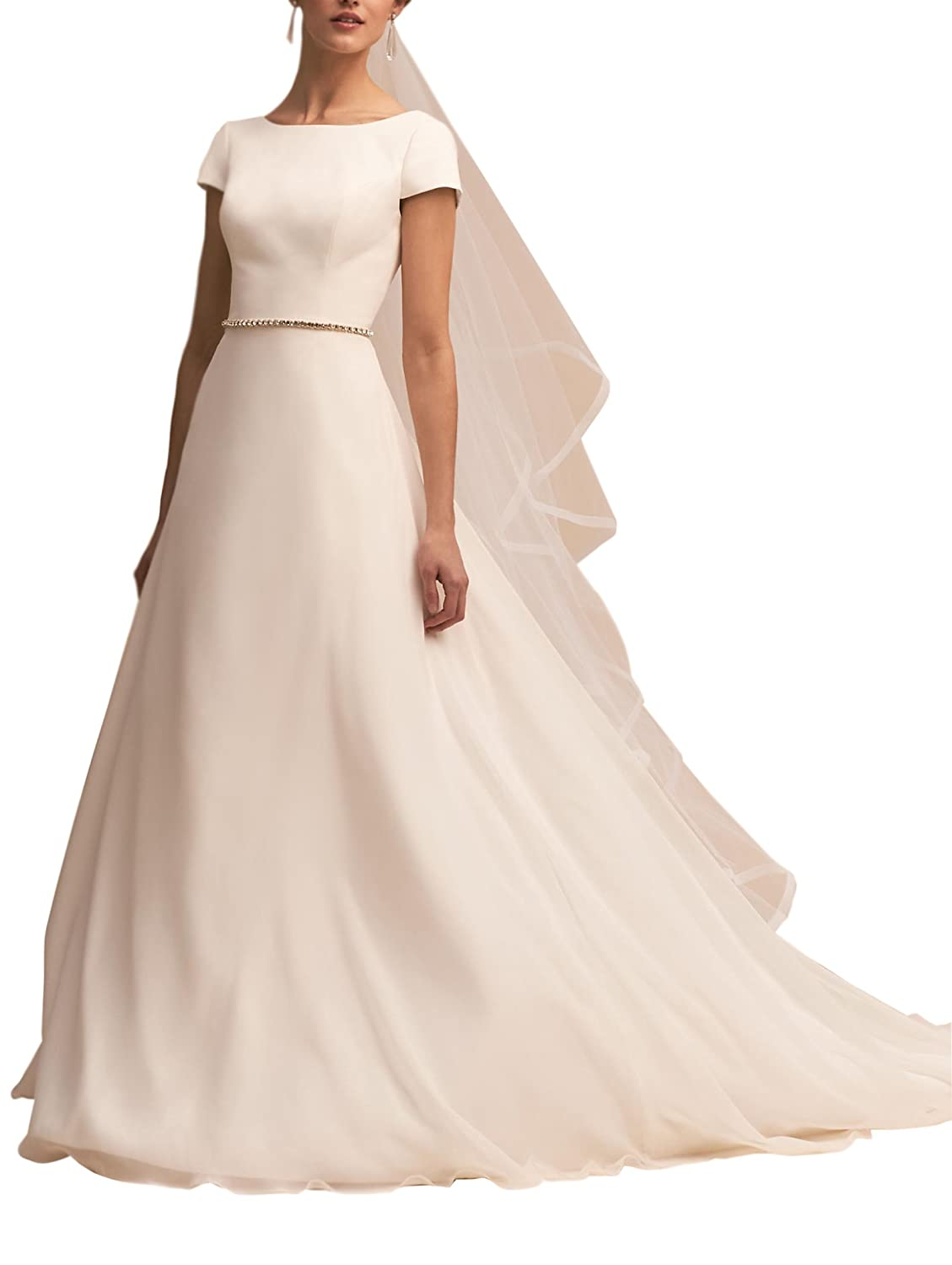 Newdeve White Round Neckline Cap Sleeves Classic Satin Backless