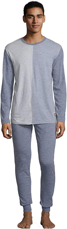 Hanes Men's Jersey Knit Jogger and Split Front Top Pajama Lounge Sleep Set