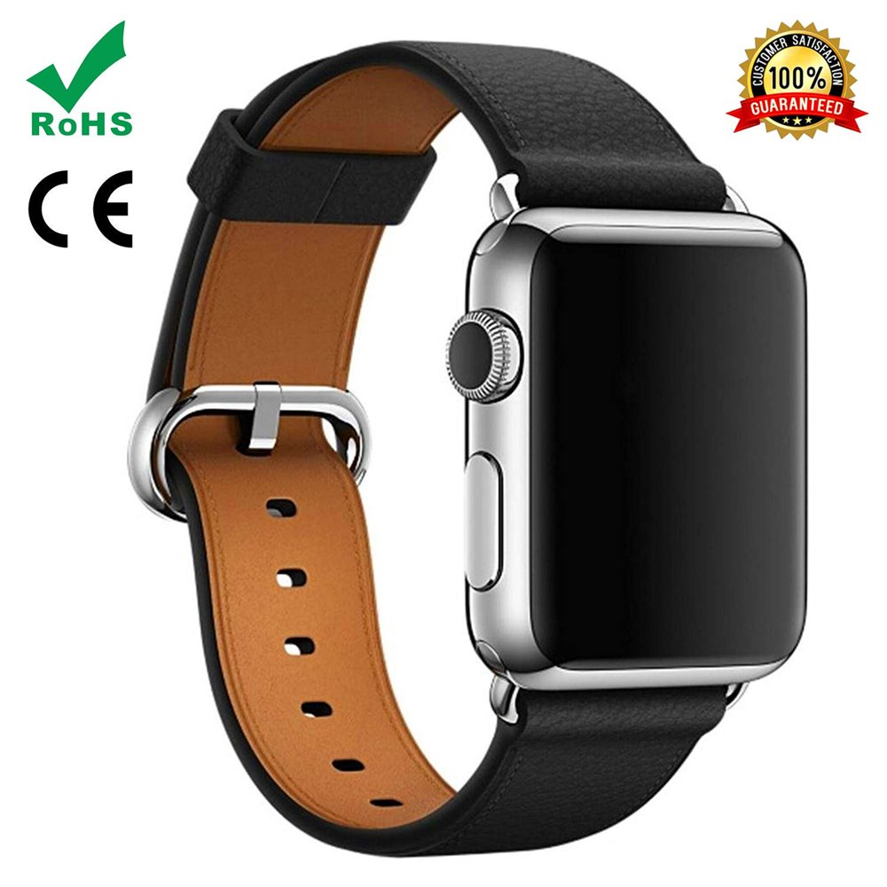 Watch Band For Apple Watch,TFSeven Classic Handcraft Leather Business Replacement iWatch Strap for iWatch Apple Watch Nike+ Sport Edition Series 1 Series 2 Series 3, S/M Size (Black, 38mm)