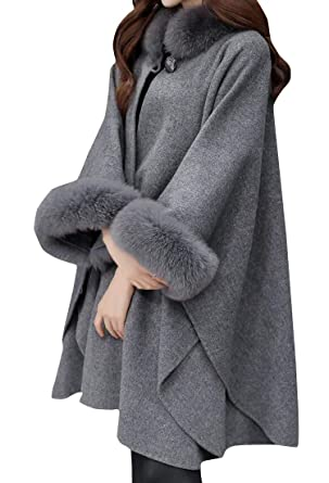 27113663394c5 Lutratocro Women s Oversize Wool-Blended Faux Fur Collar Overcoat Capes Pea  Coat Gray Small
