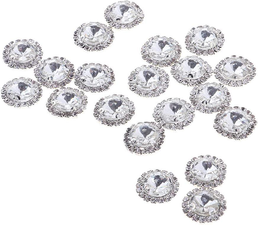 8mm Black 20Pcs Sew on Rhinestones Crystal AB Glass Flatback Rhinestone for Crafts Clothing Wedding Dress Decoration