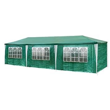 HG®Tonnelle Tente Pavillon de jardin étanche en polyéthylène et tubes  d\'acier avec 6 parois latérales amovibles et 2 entrées 3 x 9 m Tente vert