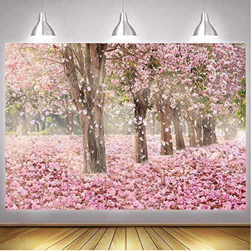 Dlergt 7x5ft Spring Backdrops for Photography Pink Cherry Blossoms Flowers Background Wedding Photo Background 2-393
