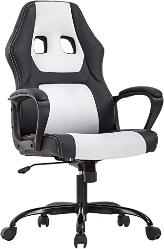 Office Chair PC Gaming Chair Ergonomic Racing Desk Chair Executive Task Computer Chair Back Support Modern Adjustable Rolling Swivel Chair for Women Men, White