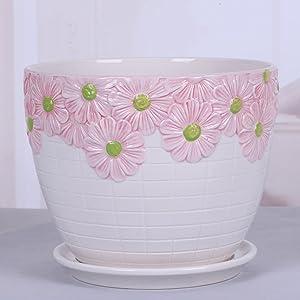 Red Chinese Wind Ceramic Flowerpot/Tray/Individual Flowerpot/Creative Flower pots/Plant Pot-F