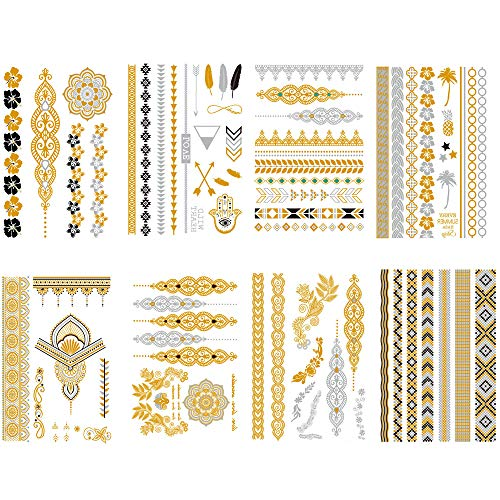 Qufan Metallic Flash Temporary Tattoo (8 Sheets) Gold Silver Glitter Waterproof Fake Jewelry Tattoos Stickers - arrows, floral,Jewelry,Feathers