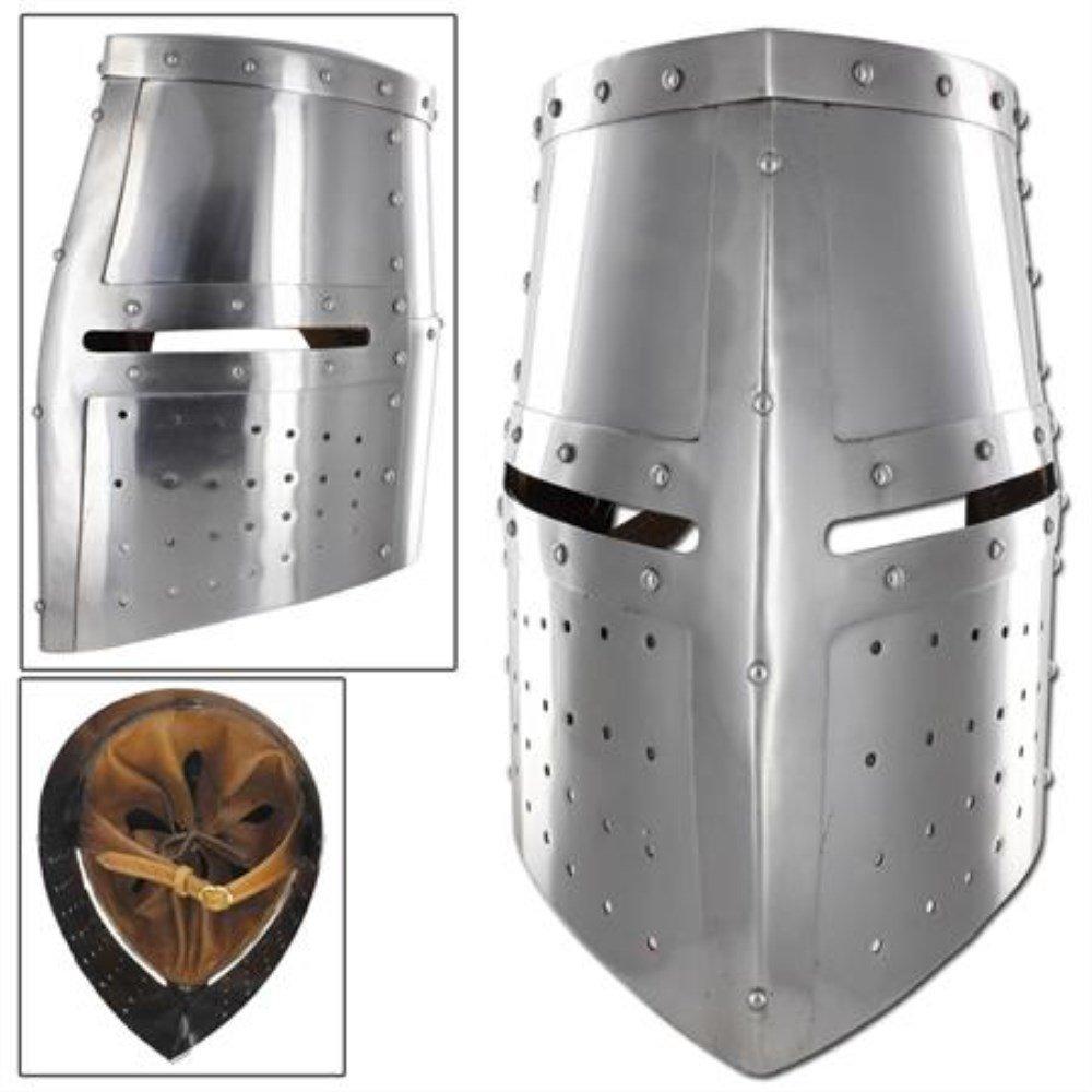 Menacing Steel Medieval Iron Cross Helmet Crusader Riveted Great Helm