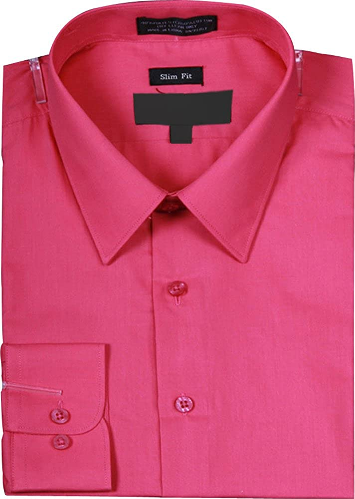 Mens Slim Fit Basic Solid Color Dress Shirt with Button Cuff