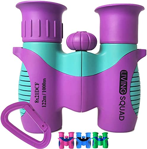 Kids Binoculars 8×21 – Purple Girls Gift Age 3-12, Shockproof Compact Binoculars for Kids with High Resolution Optics for Bird Watching, Stargazing, Hunting, Hiking, with Case, Neck Strap