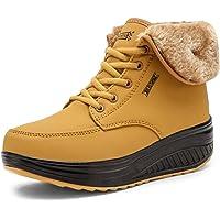 SAGUARO® Invierno Mujer Botas de Nieve Cuero Calientes Fur Botines Plataforma Bota Boots Ocasional Impermeable Anti…