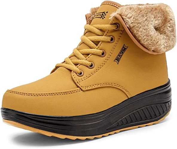SAGUARO® Femmes Bottes de Neige Chaud Fourrure Cheville Bottines Impermeable Antidérapant Boots Fourrées Chaussures pour Hiver