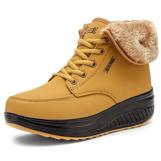 SAGUARO® Invierno Mujer Botas de Nieve Cuero Calientes Fur Botines Plataforma Bota Boots Ocasional Impermeable Anti Deslizante Zapatos