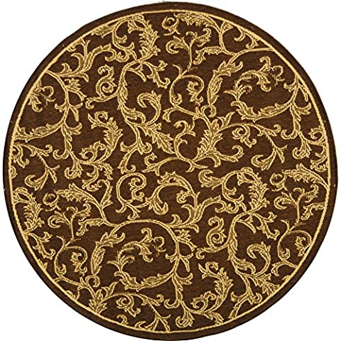 Safavieh Courtyard Collection CY2653-3009 Brown and Natural Indoor/ Outdoor Round Area Rug (5'3