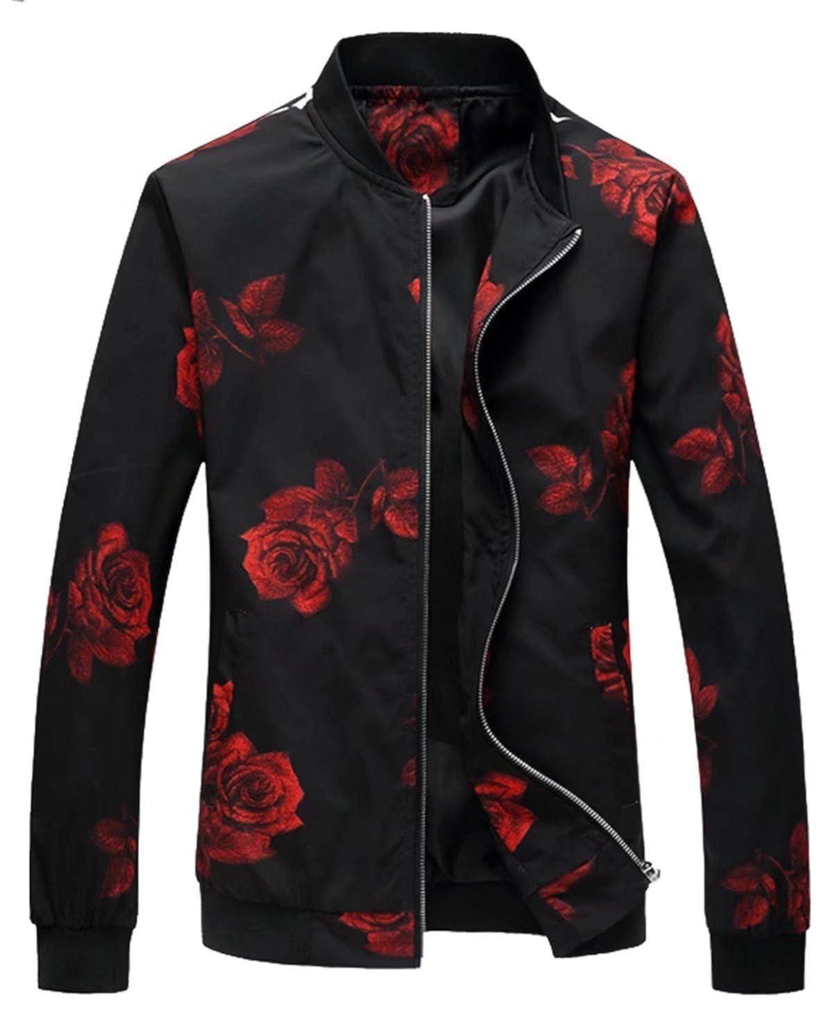 EMAOR Mens Casual Slim Fit Printed Jacket Coat
