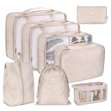 Organizador De Cubos De Maleta de 8 En 1 Set, Multifuncional Bolsa De Viaje Impermeable Gran Capacidad Organizador De Equipaje Polyester Transpirable ...