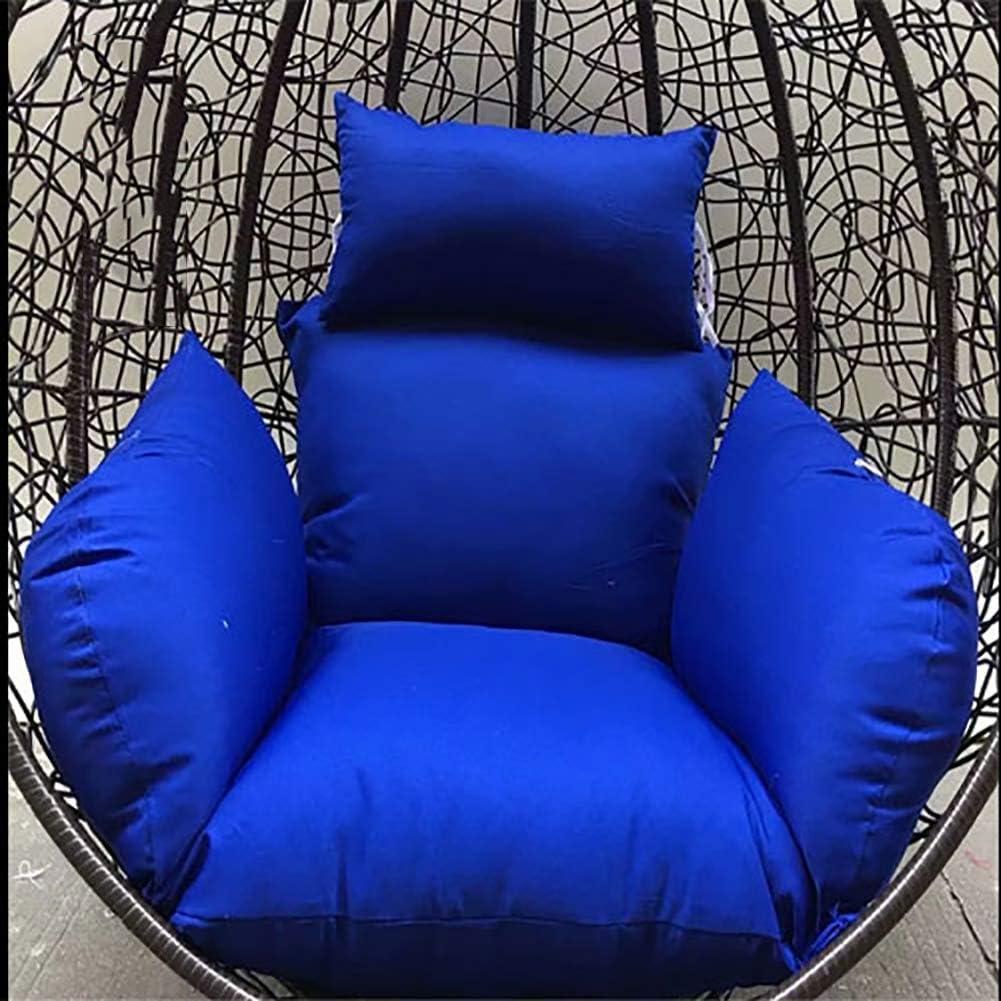 WYJW Cojines Colgantes de Silla Hamaca, sin Soporte Cojín de Asiento abatible Nido Grueso Respaldo con Almohada-Azul Marino 125x60cm