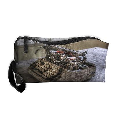 Bolsa de maquillaje con patrón de máquina de escribir antigua, bolsa de cosméticos portátil de