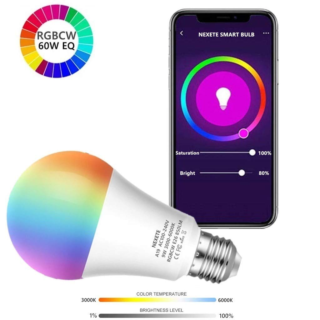 Dimmable and Tunable White 3000-6000K No Hub Required 2 Pack Work with Alexa Google Assistant /& IFTTT APP Remote Control Smart WiFi LED Light Bulb RGB+CW A19 60W Equivalent 9W 850Lm,Multi-Color