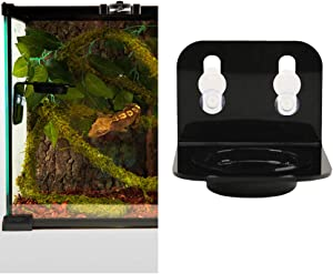 POPETPOP Reptile Bowl Ledge-Acrylic Suction Cup Gecko Feeder Ledge-Plastic Bowls for Reptiles Food and Water Feeding for Tortoise Reptile Spider Snake(Single Basin)