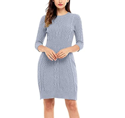 cbd76aaff99 NOHOPE-sweaters Women Sweater Dress Three-Quarter Sleeves Long Knitted  Pullover