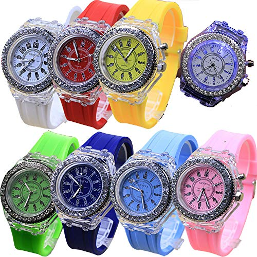Jelly Bracelet Yellow (8 Pack LED Luminous Lights Watches for Women Men Unisex Summer Jelly Dress Wristwatches Brand Bracelet Wholesales Assort Set)