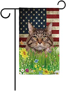 BAGEYOU Lovely Maine Coon Garden Flag Lovely Pet Kitten American US Flag Wildflowers Floral Grass Spring Summer Decorative Patriotic Banner for Outside 12.5x18 Inch Printed Double Sided
