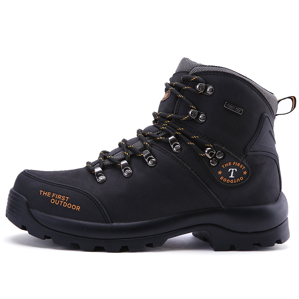 TFO Leather Waterproof Men Mid Hiking Boots Mountaineering Outdoor Shoes (US 8.5, Black)