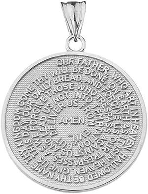 Fine Sterling Silver Lords Prayer Transcription Medallion Necklace