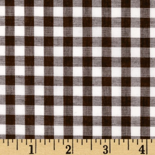 (Richland Textiles Wide Width 1/4in Gingham Check Brown Fabric by The Yard)