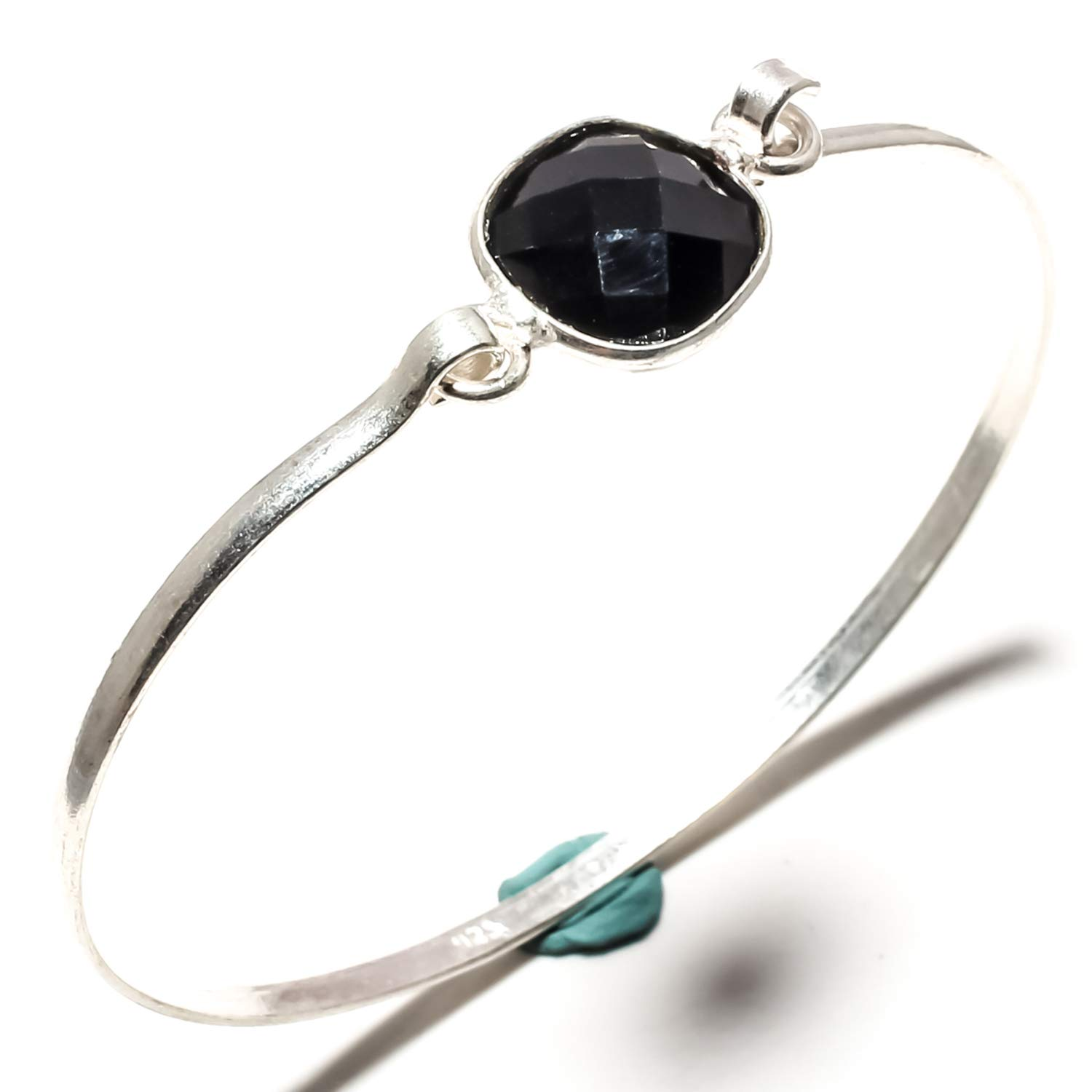 SF-1640 Adjustable Size Cuff Bracelet Stunning Faceted Black Onyx Gemstone Bangle Kada Handmade 925 Sterling Silver Plated Jewelry