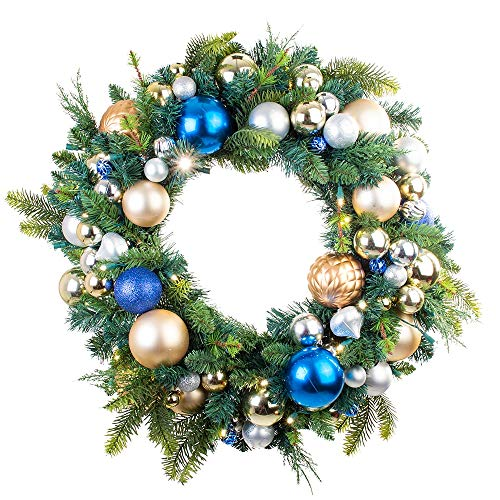 (30 in. Artificial Pre Lit LED Decorated Wreath - Celebration Ornament Christmas Wreath - 50 super mini LED warm clear colored lights with timer and battery pack for indoor and outdoor use)