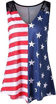 Blusa Sexy Mujer, Chaleco de Mujer Camisas con Estampado de Bandera Americana de Mujer Camisetas sin Mangas con Cuello en V de Encaje Camisa Blusa: Amazon.es: Deportes y aire libre