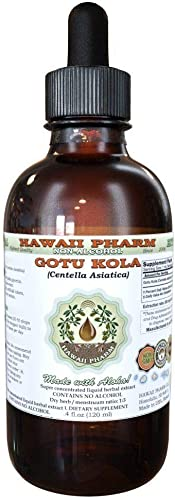 Gotu Kola Alcohol-Free Liquid Extract, Organic Gotu Kola Centella Asiatica Dried Leaf Glycerite Hawaii Pharm Natural Herbal Supplement 2 oz