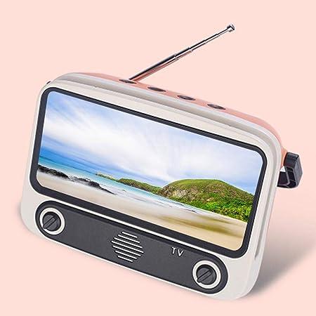 earlyad Altavoz Bluetooth Portátil Y Soporte para Teléfono, Mini Altavoz Inalámbrico Bluetooth con Forma De TV Retro con Radio FM/Llamadas Manos Libres, Soporte para Teléfono Móvil De Escritorio Cozy: Amazon.es: Hogar