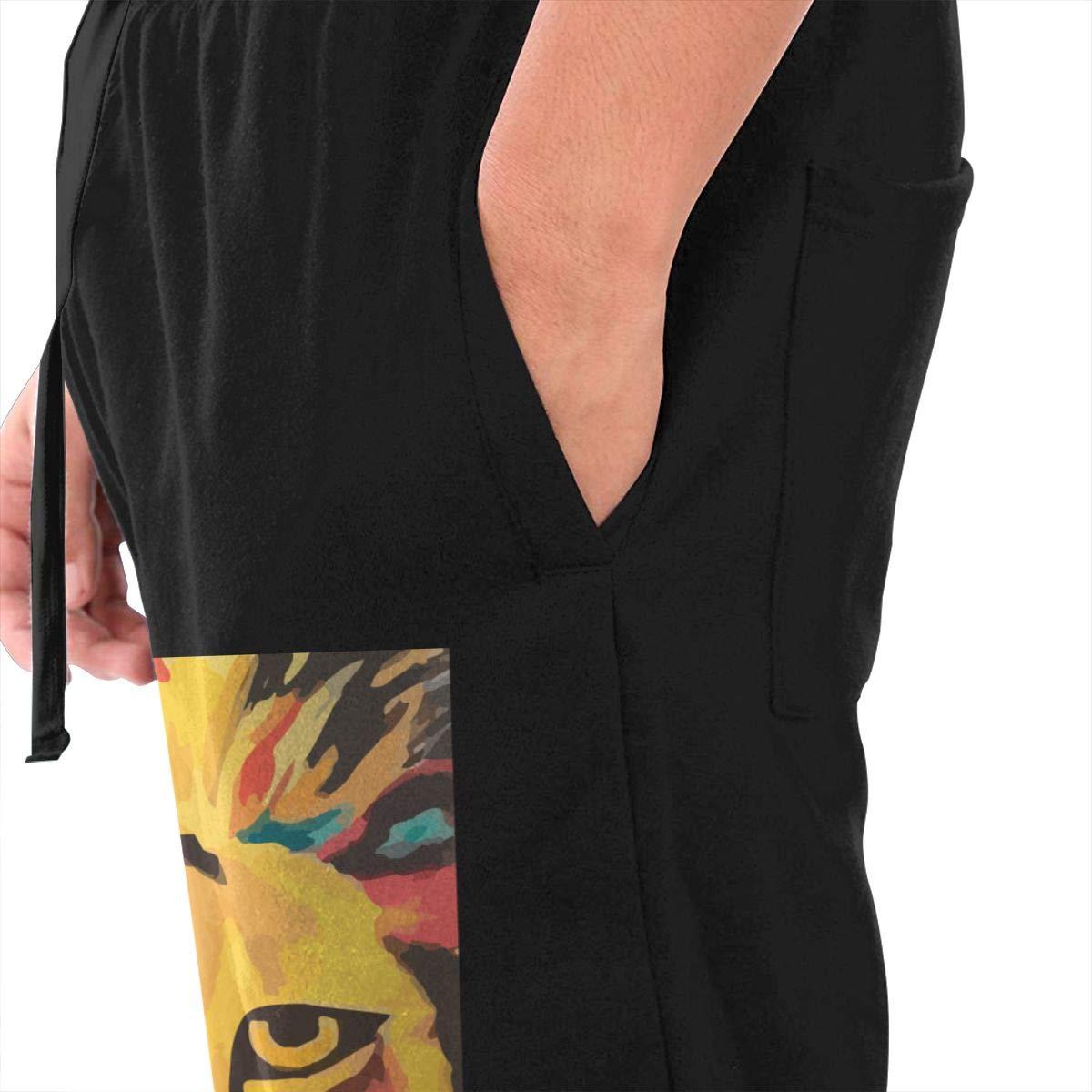 Rainbow Lion Drawstring Waist,100/% Cotton,Elastic Waist Cuffed,Jogger Sweatpants