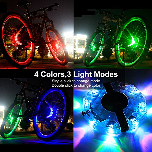 Alritz Rechargeable Bike Wheel Hub Lights, Waterproof 3 Modes LED Cycling Lights, RGB Colorful Bicycle Spoke Lights for Safety Warning and Decoration (Wheel Light for 1 Wheel) by Alritz (Image #1)