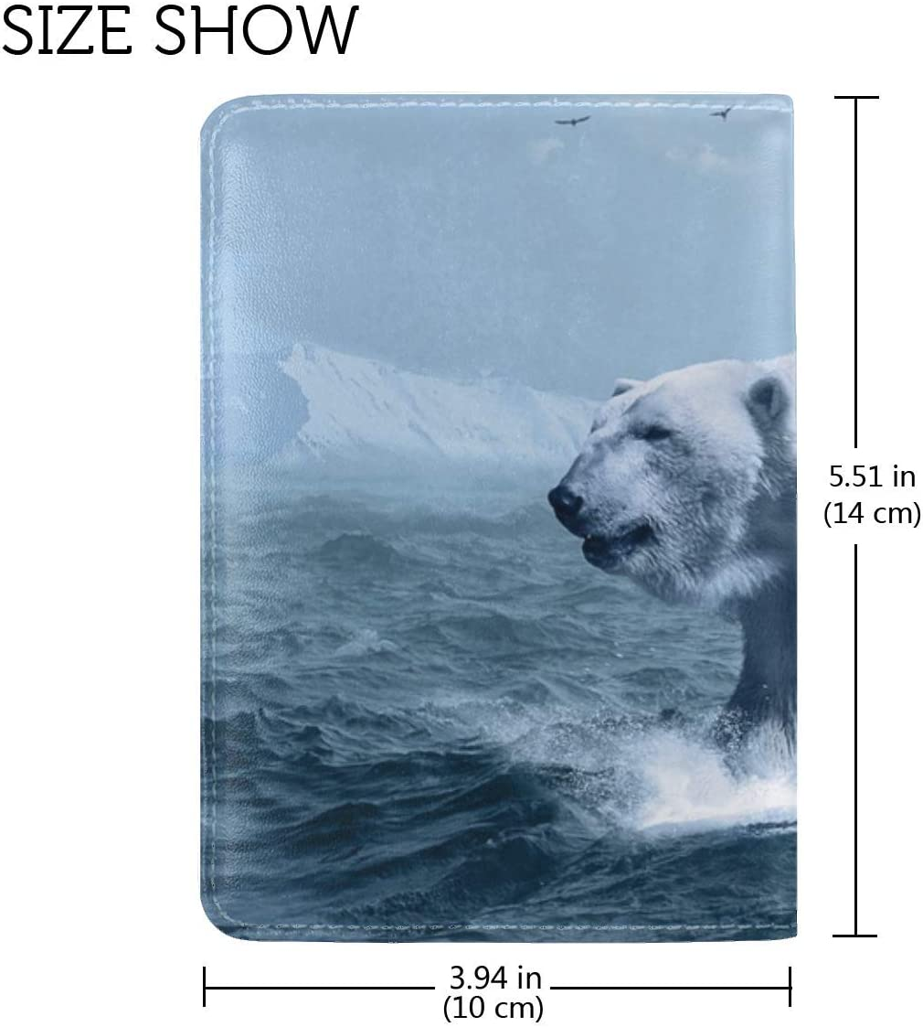 JiaoL Polar Bear Ocean Photoshop Leather Passport Holder Cover Case Travel One Pocket