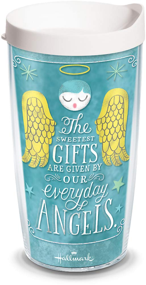 Tervis 1261036 Hallmark-Everyday Angels Insulated Tumbler with Wrap and White Lid, 16oz, Clear