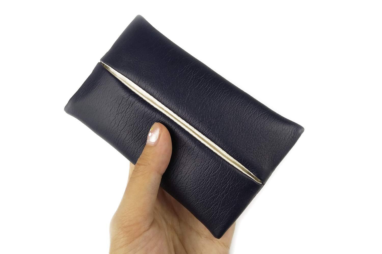「Thing.Is」PU Leather Pocket Tissue Holder, Travel Tissue Cover, Travel Tissue Holder, Portable Tissue Case, Tissue Pouch, Dark Blue