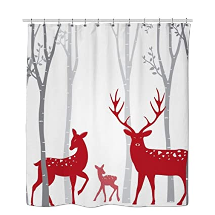 RHATTOWN Christmas Shower Curtain Tree Reindeer Decor Red