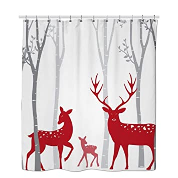 RHATTOWN Christmas Shower Curtain Tree Reindeer Decor Red