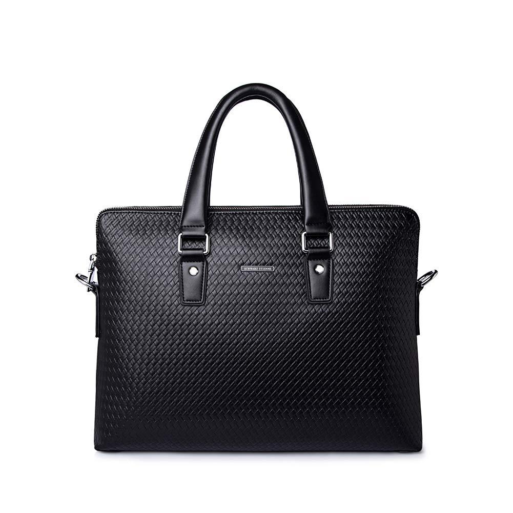 Fishbag Aktentaschen für Männer Echtes Leder Schwarz Groß mit Fächern Laptoptasche Schultertaschen für Herren Wasserdicht