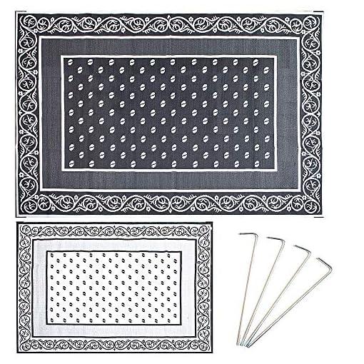 Garden and Outdoor Smart Design Reversible RV Mat,Indoor/Outdoor Weather & UV Resistant Plastic Rug-(Duck Grey,9×12 Feet) outdoor rugs